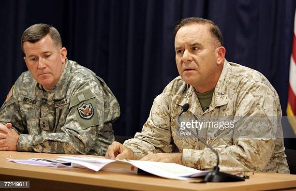 US military spokesman Brigadier General Kevin Bergner and Major General Douglas M Stone Deputy Commanding General Detainee Operations attend a joint...