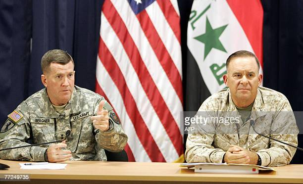 US military spokesman Brigadier General Kevin Bergner and Major General Douglas M Stone Deputy Commanding General Detainee Operations give a joint...
