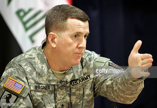 US military spokesman Maj Gen Kevin Bergner speaks during a joint press conference at the heavily fortified Green Zone in Baghdad 10 October 2007 As...