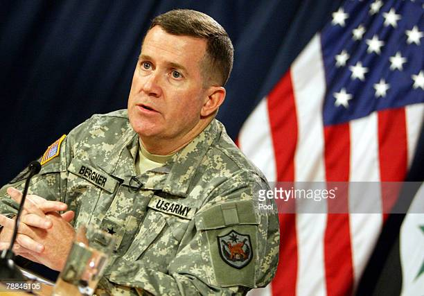 US military spokesman Major Gen Kevin Bergner speaks during a press conference with Major Gen Michael Haerlting on January 9 2008 in Baghdad Iraq