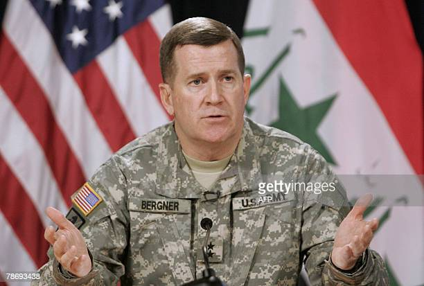 US military spokesman Major General Kevin Bergner holds a press conference in Baghdad's heavily fortified Green Zone 02 January 2008 The...