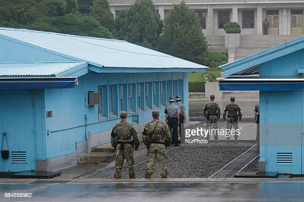 UNC Military stand guard during the event to commemorate the 63rd Anniversary of the Korean War Armistice Agreement at Punmunjom in south of DMZ...