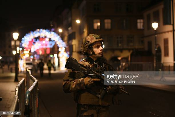 A military stands in the streets of Strasbourg eastern France after a shooting breakout on December 11 2018 At least two people have been killed and...