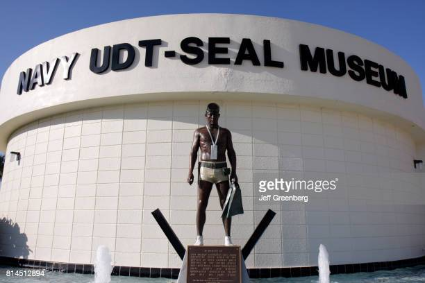 A military statue outside the National Navy UDTSEAL Museum