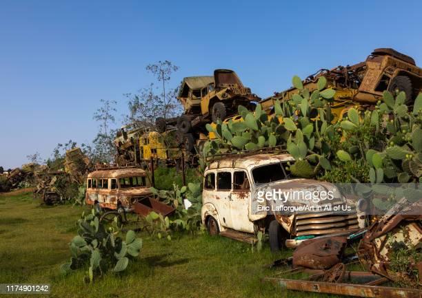 Military tank graveyard, Central region, Asmara, Eritrea on August 22, 2019 in Asmara, Eritrea.