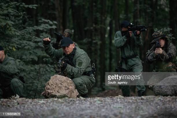 military team in forest - task force stock pictures, royalty-free photos & images