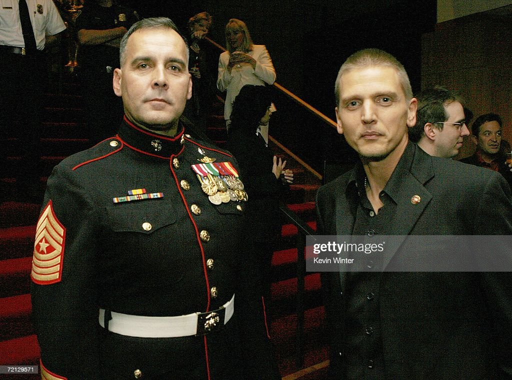 Military Technical Advisor Sgt. Major James Dever, USMC (Ret.) (L) and actor Barry Pepper pose at the afterparty for the premiere of Paramount's 'Flags Of Our Fathers' at the Academy of Motion Picture Arts and Sciences on October 9, 2006 in Beverly Hills, California.