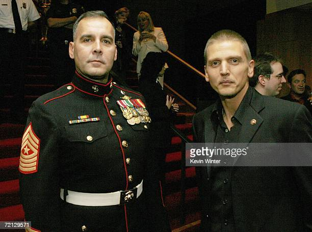 Military Technical Advisor Sgt Major James Dever USMC and actor Barry Pepper pose at the afterparty for the premiere of Paramount's 'Flags Of Our...