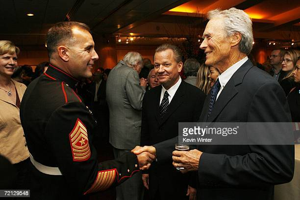 Military Technical Advisor Sgt Major James Dever USMC and actor/director Clint Eastwood at the afterparty for the premiere of Paramount's 'Flags Of...