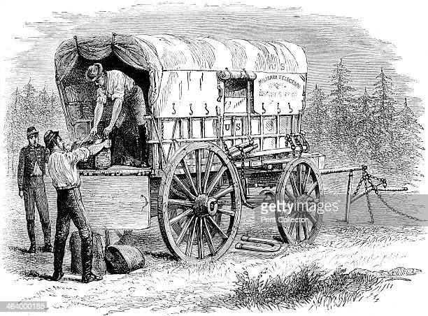 US military telegraph wagon American Civil War 18611865 After Gardner Photo Sketch Book of the War A print from Cassell's History of the United...