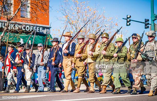US military through the ages in Veterans Day Parade