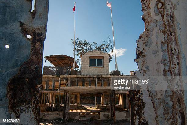 Military tower is seen in the Varosha quarter on January 5, 2017 in Famagusta, Cyprus. Prior to the Turkish invasion of Cyprus in 1974, the abandoned...