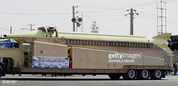A military truck carries a longrange Shahab3 ballistic missile during a military parade in Tehran on September 21 2008 to commemorate the 28th...