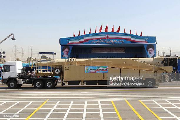 A military truck carries a Sejil mediumrange missile during the annual military parade marking the anniversary of the start of Iran's 19801988 war...
