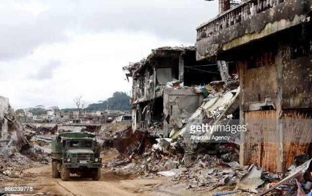A military truck is seen in the area where military fought Daesh terrorists in Marawi Lanao del Sur in the Southern Philippines on October 25 2017...