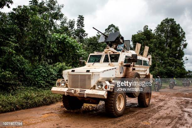 A military truck of the United Nations Organisation and Stabilisation Mission in the Democratic Republic of the Congo patrols on the road linking...
