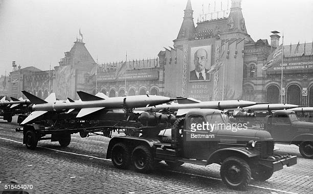 Military trucks pull trailers of short-range, two-stage missiles with twin tail assembly past the Kremlin. The Soviet Union unveiled a wealth of...