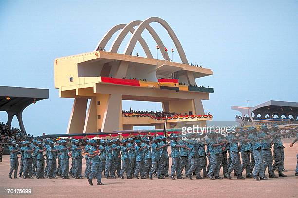 A military unit in full parade dress at Independence Square on March 6 GhanaÆs Independence Day Accra Ghana West Africa