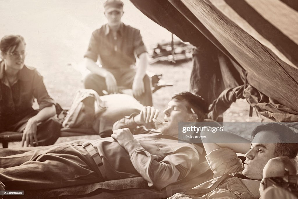 WWII Military Unit - Taking In A Little R&R : Stock Photo
