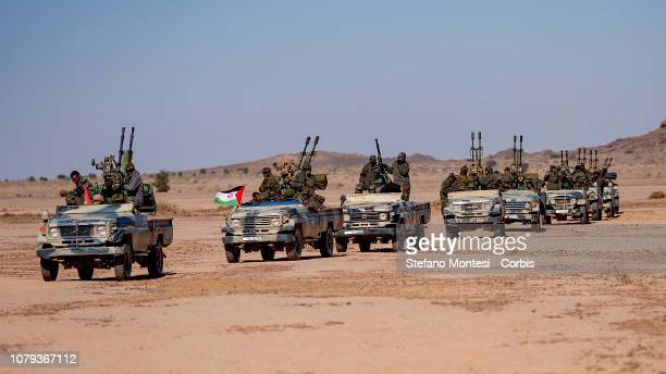 Military units from the Arab Democratic Republic Saharawi waiting for the beginning of the the manoeuvres in the fourth military region in the...