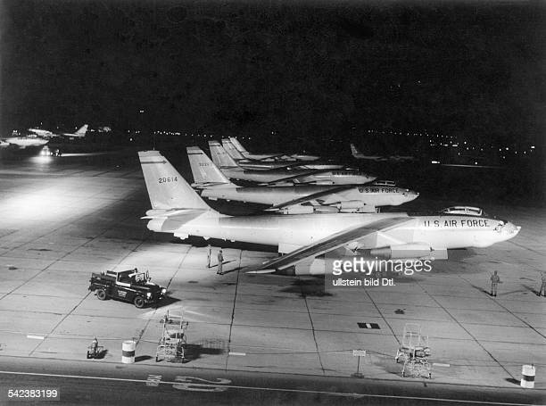 USA military USAF Strategic Air Command A B47 'Stratojet' long distance bomber squadron on the airfield of March AFB in CaliforniaVintage property of...