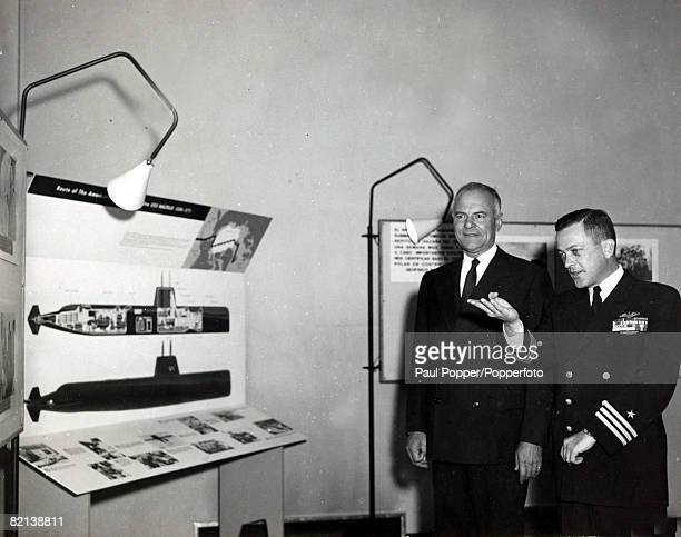 13th October 1958 Captain William Anderson right at the USEmbassy in Spain the Commander of the US nuclear powered submarine 'Nautilus' which that...