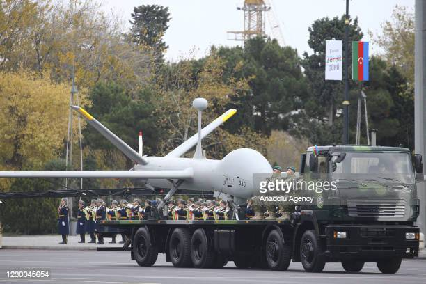 Military vehicle carries Hermes 450 unmanned air vehicle during the Victory Parade held to celebrate Azerbaijani army's victory in Nagorno-Karabakh...