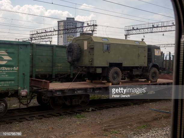 A military vehicle in the UlanUde region from the TransSiberian Railway from MoscowVladivostok Spanning a length of 9289km it's the longest...