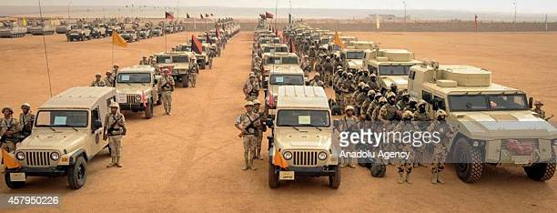 Military vehicles and soldiers of Egyptian Armed Forces are seen as Egypt reinforces its 2 and 3 armies in the Sinai Peninsula Egypt on October 27...