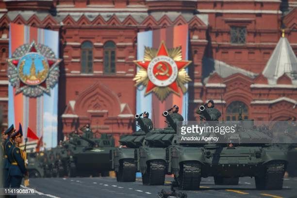 Military vehicles are seen during the rehearsal of the military parade ahead of the celebrations on May 9 to mark the 74th anniversary of the Soviet...