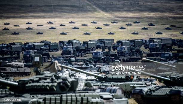 Military vehicles are seen during the Vostok2018 military drills at Tsugol training ground not far from the borders with China and Mongolia in...