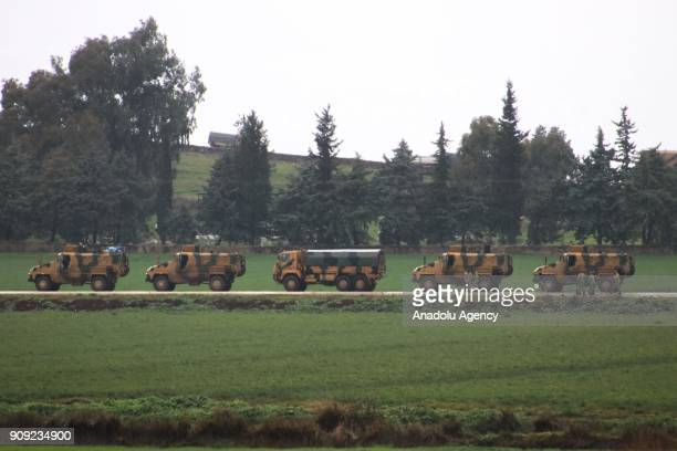 Military vehicles move towards to Syrian border as part of the 'Operation Olive Branch' in Hatay Turkey on January 23 2018 Turkey launched Operation...