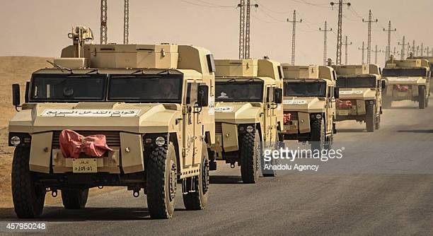 Military vehicles of Egyptian Armed Forces are seen as Egypt reinforces its 2 and 3 armies in the Sinai Peninsula Egypt on October 27 2014