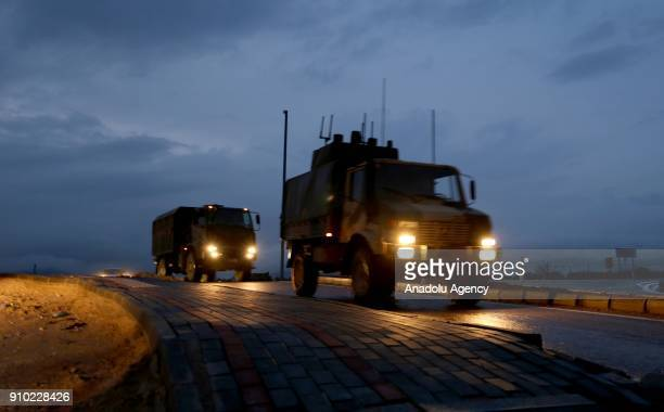 Military vehicles of Turkey are being dispatched to Turkey's Kilis to support the units deployed at the border as part of the 'Operation Olive...
