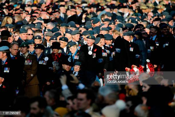 Military venterans prepare to take part in the Remembrance Sunday ceremony at the Cenotaph on Whitehall in central London on November 10 2019...