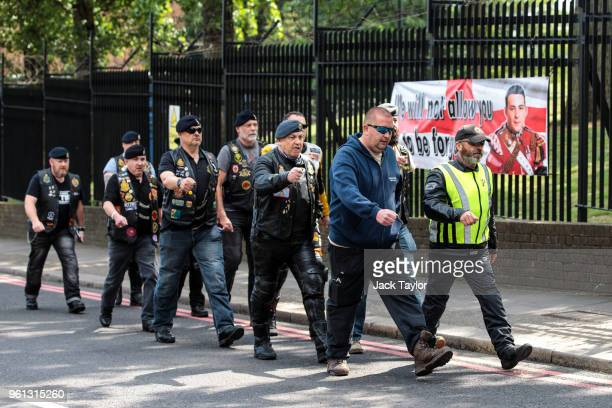 Military veterans and bikers march at the site of the murder of Fusilier Lee Rigby to mark the fifth anniversary of his death on May 22 2018 in...