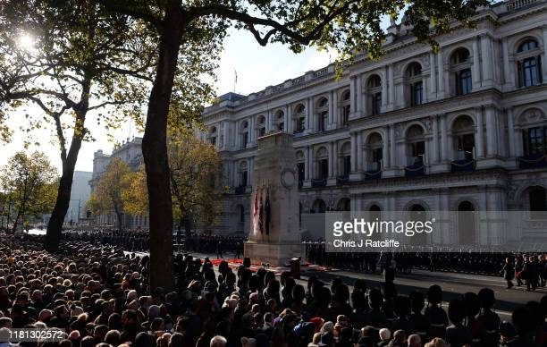 Military veterans and members of a military take part in the annual Remembrance Sunday memorial at The Cenotaph on November 10, 2019 in London,...
