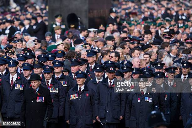 Military veterans attend the annual Remembrance Sunday Service at the Cenotaph on Whitehall on November 13 2016 in London England The Queen senior...