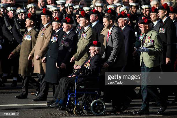 Military veterans parade during the annual Remembrance Sunday Service at the Cenotaph on Whitehall on November 13 2016 in London England The Queen...