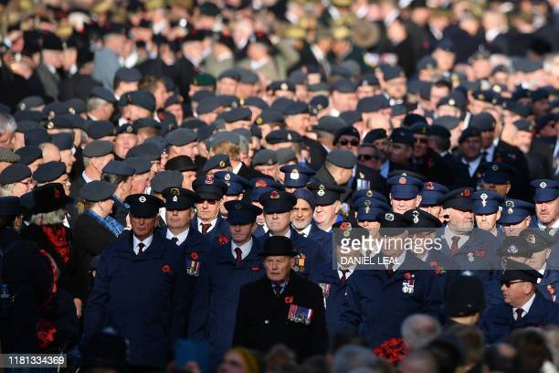 Military veterans take part in the Remembrance Sunday ceremony at the Cenotaph on Whitehall in central London on November 10 2019 Remembrance Sunday...