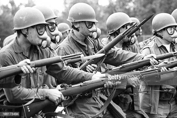 View of National Guard wearing gas masks during riot training Newark NJ CREDIT Neil Leifer