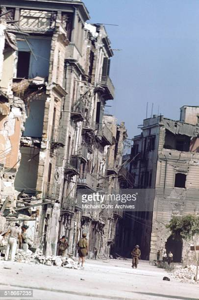 Military walk through the streets 5 days after winning the campaign 'Operation Husky' in Palermo Sicily Italy