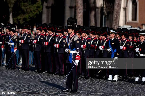 Military wards stand guard before the arrival of President, Sergio Mattarella at the Altare della Patria marking the 73rd Liberation Day on April 25,...