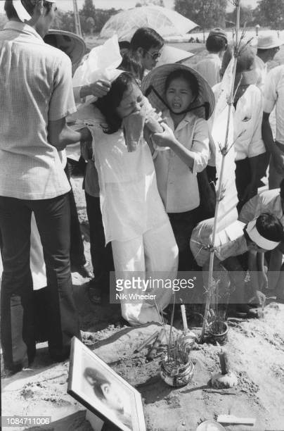 Military wife whose husband was killed in fighting at Bien How while trying to prevent the advance of the North Vietnamese Army into Saigon in April...