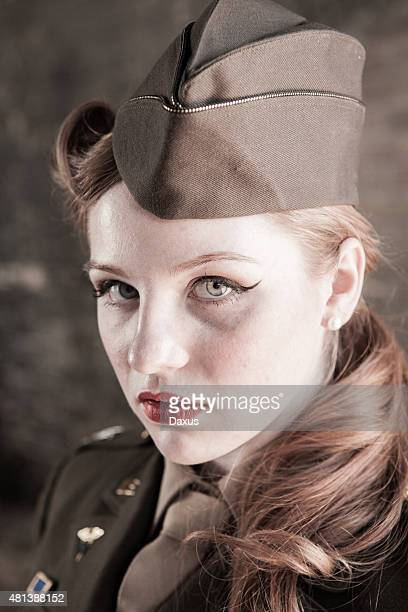 military woman portrait wwii - 40s pin up girls stock photos and pictures