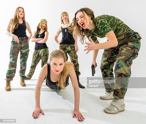 military-style fitness for women - military style stock pictures, royalty-free photos & images