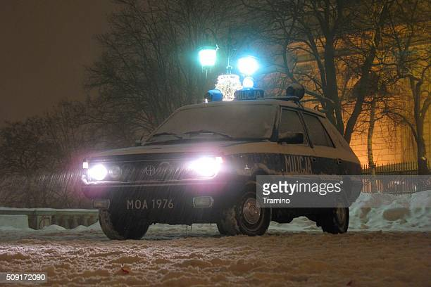 militia car on the street at night - law enforcement appreciation stock pictures, royalty-free photos & images