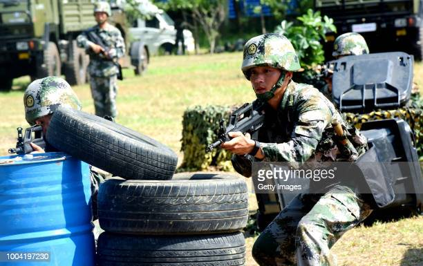 Militia instructors attend a summertime competition to test individual skills on July 20 2018 in Taizhou Jiangsu Province of China The militia...