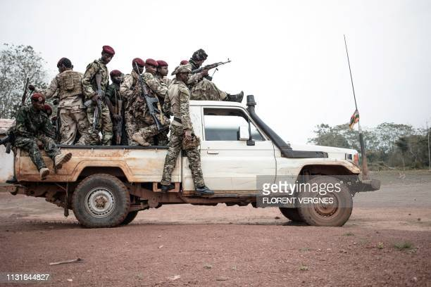Militiamen of the Union for Peace in Central African Republic armed group patrol the city of Bokolobo near Bambari on March 16 2019 Based in Bokolobo...