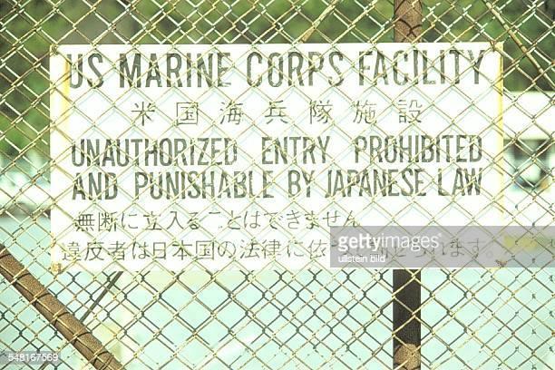 US Militär Stützpunkt auf Okinawa Schild 1995
